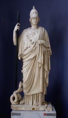 Minerva (Athena), Roman statue (marble) copy of Greek original, 1st–2nd century AD (original 5th c. BC), (Musei Vaticani, Vatican City).