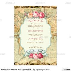 Adventure Awaits Vintage World Map Roses Invitation Bridal or Baby Shower Retirement Travel