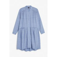 Monki Button up dress (165 ARS) ❤ liked on Polyvore featuring dresses, chambray, blue button down dress, ruched waist dress, long button down shirt dress, button down shirt dress and blue dress