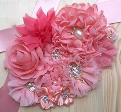 Blush Peach, Coral and Iv - Baby Hair Baby Shower Sash, Baby Shower Princess, Maternity Belt, Chic Maternity, Flower Belt, Shades Of Peach, Baby Belly, Chiffon Flowers, Newborn Photo Props
