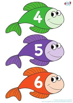 Number Chart with Preschool Fishes - Preschool Charts, Preschool Rooms, Numbers Preschool, Learning Numbers, Kindergarten Learning, Preschool Learning Activities, Human Body Science, Number Chart, Thanksgiving Preschool