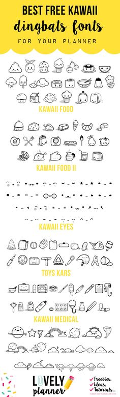 Best free kawaii dingbats fonts to create stickers for your planner Free Dingbats, Free Dingbat Fonts, Fonts To Draw, Doodle Fonts, Doodle Art, Free Planner Stickers Icons, Free Stickers, Journal Stickers, Kawaii Stickers