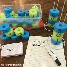 Love this ideas for building sight words using pool noodles and paper towel holders. So cheap and easy but the kids love it! It's tactile, hands on, and QUIET! So easy to implement in literacy centers or small groups. Students can build each sight word or spelling word and then record on white board or in their journals.
