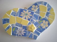 Blue & Yellow Mosaic Heart by theyellowroses on Etsy