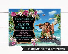 Moana Invitation, Printed Moana Invitation, Moana Birthday Invitation, Moana Party, Moana, Moana Birthday, Girl Invitations, M1