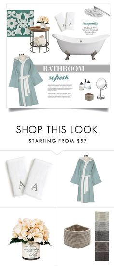 """""""Bathroom Refresh"""" by overstock ❤ liked on Polyvore featuring interior, interiors, interior design, home, home decor, interior decorating, WALL, simplehuman, Creative Displays and Colonial Mills"""