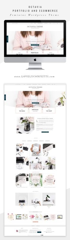 Octavia new feminine WordPress theme for creatives - Full Layout by Lovely Confetti