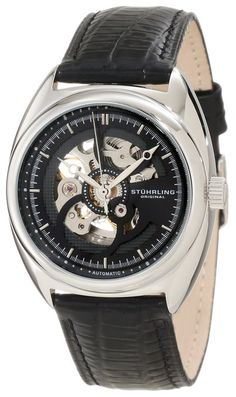 Stuhrling Original Men's 381.33151 Delphi Automatic Skeleton Black Leather Watch; http://amzn.to/1nm3Fqz