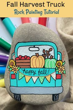 Rock Painting Designs, Paint Designs, Rock Painting Patterns, Painting On Rocks Ideas, Truck Paint, Make Happy, Happy Fall, Halloween Rocks, Decor Inspiration