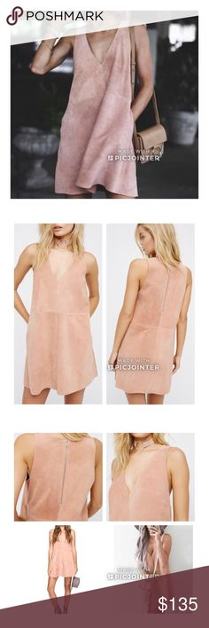 "🆕Free People Retro Suede Dress Free People Retro Love Suede Dress.  In a luxe suede, this sleeveless mini dress features a plunging V-neckline with hip pockets. Exposed silver tone zip closure in back.  Soft Peach (second pic truest color) ///////NWOT/////  100% Suede   Approx Measurements are pit to pit 17"",  length 31"" shoulder seam to hem. Free People Dresses"