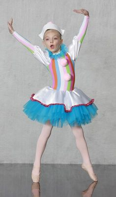Polichinelle Clown FEMALE BALLET / DANCE COSTUME Nutcracker Collection 1-800-292-1902 LITTLE POLICHINELLE GIRL - Lively striped spandex leotard with attached satin skirt and tutu is both comfy and colorful. Pom pons and headpiece included. Made just for you in all child and adult sizes.