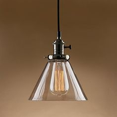 Rh modern vintage industrial american country loft glass edison permo industrial vintage pendant light with funnel flared glass clear glass shade ceiling fixture bronze mozeypictures Gallery