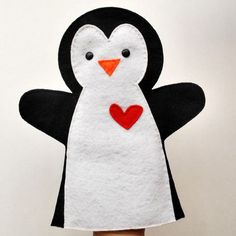 Valentines Day Penguin Hand Puppet PDF Sewing by Mariapalito