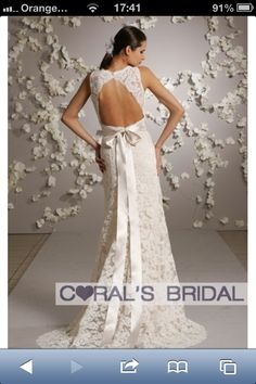 Lace backless with bow.  Coralbride.com