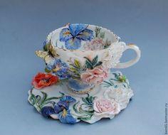 """Сервизы, чайные пары ручной работы. Ярмарка Мастеров - ручная работа. Купить Чайная пара """"Прекрасный сад"""". Handmade."""