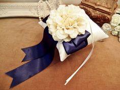 Wedding ring cushion of Dahlia / リボンとダリアのリングピロー(ネイビー) - pillow.co