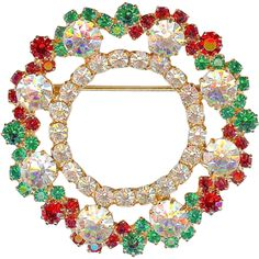 Prettiest Vtg EISENBERG ICE Red Green Clear Crystal Christmas Wreath Brooch Pin