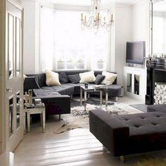 White living room with grey corner sofa inspo Black And White Living Room, White Rooms, Living Room Grey, Home Living Room, Living Room Designs, Living Room Decor, Black White, Black Tv, White Bedroom