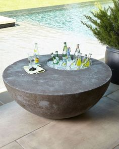 The Phillips Collection Outdoor Beverage Table Concrete Beton Design The Phillips Collection Outdoor Beverage Table. Diy Garden Furniture, Concrete Furniture, Furniture Legs, Barbie Furniture, Furniture Design, Furniture Projects, Fireplace Furniture, Furniture Buyers, Automotive Furniture