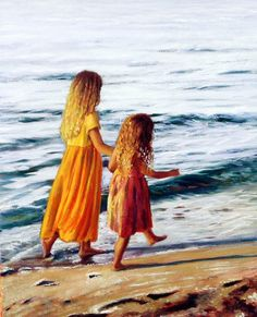 This is an original oil on canvas art painting by American Artist Marie Witte, named 'Beach Sisters' (completed in Fine art prints of the original painting are available for purchase. Seascape Paintings, Watercolor Paintings, Beach Paintings, Painting Art, Watercolor Artists, Watercolours, Painting For Kids, Art For Kids, Art Children
