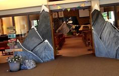 VBS 2015-Everest Tell it on the Mountain VBS Would be cool to do this on the entrance to the kids' classrooms hallway, then mountains all the way down the hallway leading to each room.