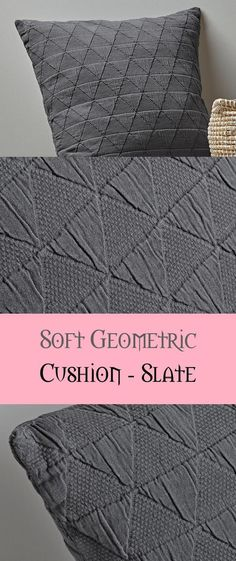 Comfortable Geometric Cushion - Slate - #comfortable #cushion #geometric #slate Geometric Cushions, Slate, Weaving, Decoration, Crafts, Ideas, Closure Weave, Dekoration, Chalk Board