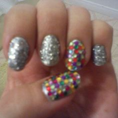 Colorful disco nails