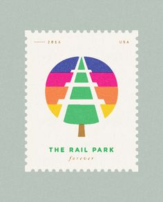 The rail park stamp - Design by Mike Smith Retro Design, Design Art, Print Design, Logo Design, Graphic Design, Flat Design, Badge Design, Texture Art, Graphic Illustration