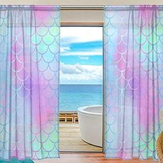 My Little Nest Colorful Magic Mermaid Fish Scale Pattern Sheer Window Curtains Drapes 55 X 78 Inch Decorative Window Treatments for Bedroom Living Room 2 Panels Bathroom Window Curtains, Bathroom Window Treatments, Mermaid Room Decor, Little Mermaid Bedroom, Mermaid Nursery, Girls Bedroom, Bedroom Decor, Bedroom Ideas, Shared Kids Rooms