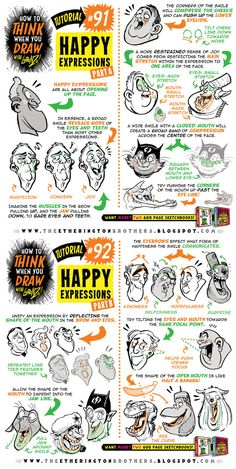 How to draw HAPPY EXPRESSIONS tutorial by STUDIOBLINKTWICE.deviantart.com on @DeviantArt