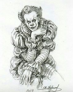 Bill Skarsgard Pennywise, Horror Drawing, It The Clown Movie, Creeped Out, Pennywise The Dancing Clown, Arte Horror, Guy Drawing, Joker, Dark Art