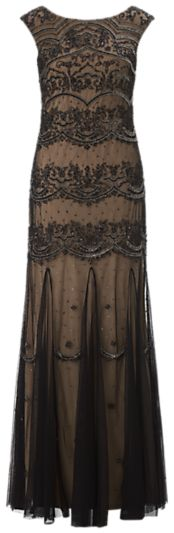 Adrianna Papell Long Bead Dress, Black/Nude on shopstyle.co.uk