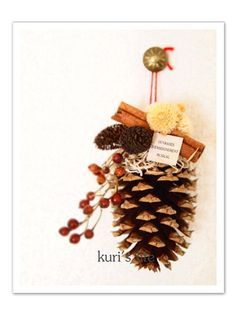 Save those pine cones. Christmas Items, Christmas Wrapping, Vintage Christmas, Christmas Wreaths, Christmas Crafts, All Things Christmas, Xmas, Christmas Flower Decorations, Pine Cone Decorations