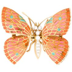Pre-owned Diamond and Multicolor Enamel Butterfly Brooch ($1,125) ❤ liked on Polyvore featuring jewelry, brooches, accessories, pins, animals, 18 karat gold jewelry, pin brooch, diamond brooch, 18k jewelry and enamel brooch