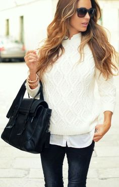 White Sweater With Ladies Jeans And Black Handbag
