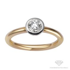 #P581907 18 Carat Two Tone Round Modern Brilliant Cut Diamond Engagement Ring FROM 0.50ct