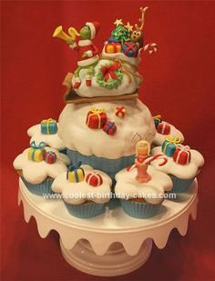 Homemade Christmas Cake: This Homemade Christmas Cake was an entry for a Holiday Cupcake Challenge.  Everything is handmade from gum paste, modeling chocolate and fondant