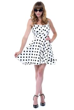 Cute White polka dot dress - vintage style #cute,  cute clothing  polka dots dress,  #50s style  retro dress  Pin Up