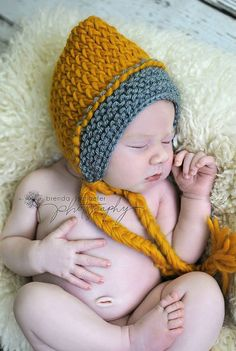 Newborn Baby Knit Hat Baby Boy Baby Girl Crochet Pixie Hat Photography Prop Baby Bonnet Photo Prop Yellow Grey