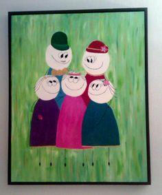 Et familieportræt malet af min søster og jeg til min fars 50års fødselsdag :)
