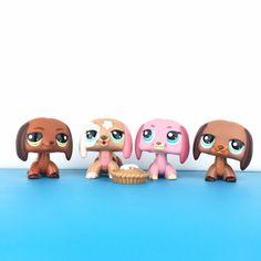 Rare Figure Gift Pink Fox Dachshund Dog Littlest Pet Shop LPS Toy #675#2642 2pcs