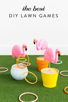 Best DIY Backyard Games - DIY Flamingo Ring Toss Yard Game - Cool DIY Yard Game Ideas for Adults, Teens and Kids - Easy Tutorials for Cornhole, Washers, Jenga, Tic Tac Toe and Horseshoes - Cool Projects for Outdoor Parties and Summer Family Fun Outside Flamingo Party, Flamingo Craft, Flamingo Bathroom, Flamingo Pool, Diy Yard Games, Backyard Games, Outdoor Games, Lawn Games, Diy Games