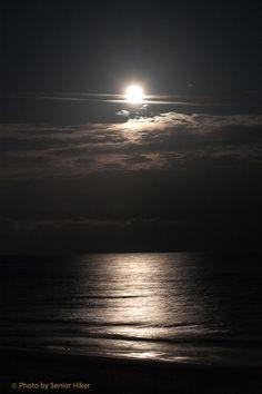 Moonlight on the ocean off Ocean Isle Beach, North Carolina. Description from…