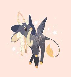Is this an earl grey tea dragon? Mythical Creatures Art, Mythological Creatures, Fantasy Creatures, Cute Animal Drawings, Kawaii Drawings, Cute Drawings, Drawing Faces, Pretty Art, Cute Art
