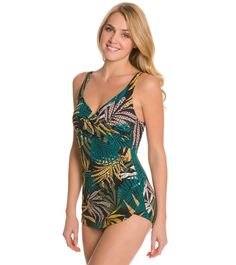 6162d75b0b Penbrooke Raindance Cross Over Sarong One Piece Swimsuit at SwimOutlet.com  - Free Shipping