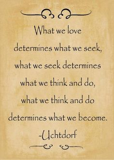 """What we love determines what we seek,  what we seek determines what we think and do,   what we think and do determines what we become.    This is a great quote to think about in the context of emotional intelligence. The only way to become a kinder more empathetic individual is to care about being a better person."