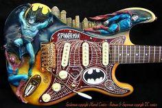 Superhero guitar! Batman, Superman, and Spiderman!