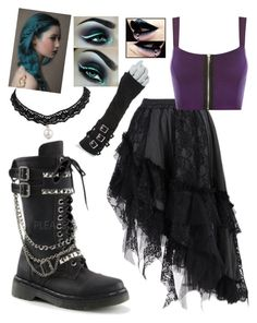 """""""Friend Challenge #2: Goth Queen"""" by alexreinereignssupreme ❤ liked on Polyvore featuring WearAll and claire's"""