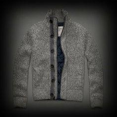 Abercrombie&Fitch メンズ ニット アバクロ Cold River Sweater ジップ パーカー レアなニットパーカータイプのジャケット! ★キルティング加工してあり防寒にも最適。