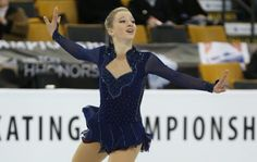 Amber Glenn, 2014 Junior Grand Prix (JGP) Series in Courchevel, France. Blue Figure Skating / Ice Skating dress inspiration for Sk8 Gr8 Designs